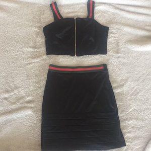 Black tank top and black skirt